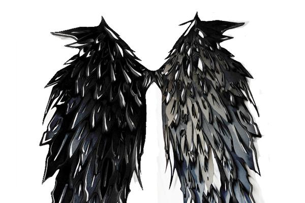 כנפיים מלאך אמנות  חיתוך לייזר שחור מתכת art fe