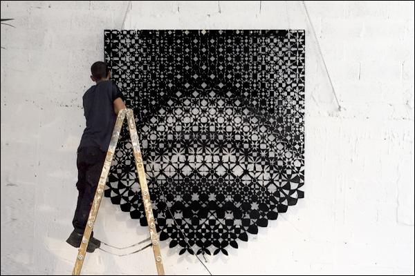 אמנות שטיח אפגני חיתוך לייזר שחור