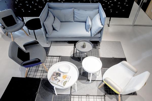 Metal coffee table white gray round