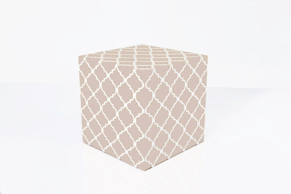 textile metal nude color laser cut cube side table