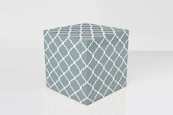 textile metal yellow laser cut cube side table