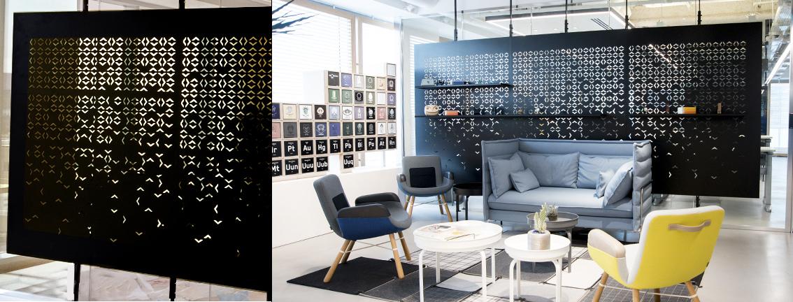 מחיצות מתכת חיתוך לייזר קירות מסך עיצוב משרד תל אביב